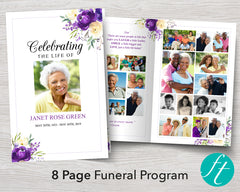 8 Page Purple Bloom Funeral Program Template