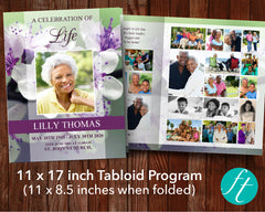 8 Page Purple Blossom Funeral Program Template (11 x 17 inches)