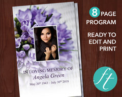 8 Page Purple Bouquet Funeral Program Template