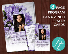 8 Page Purple Bouquet Funeral Program Template + Prayer Card