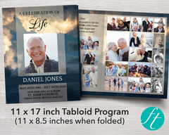 8 Page Sky Funeral Program Template (11 x 17 inches)