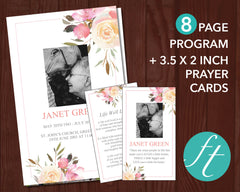 8 Page Spring Flowers Funeral Program Template + Prayer Card