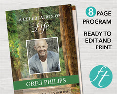 8 Page Woodland Funeral Program Template
