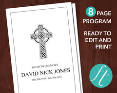 8 Page Catholic Cross Funeral Program Template