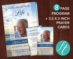 8 Page Beach Funeral Program Template + Prayer Card