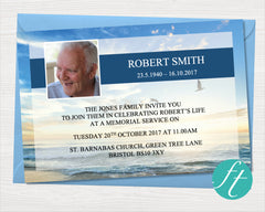 Beach Funeral Invitation Card
