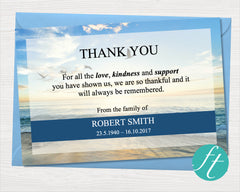 Beach Funeral Thank You Card