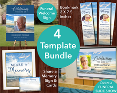 Beach Funeral Welcome Sign + Slide Show, Bookmark, Share a Memory Sign & Cards