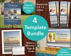 Beach Sunset Funeral Welcome Sign + Slide Show, Bookmark, Share a Memory Sign & Cards