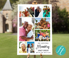 Tall Photo Collage Funeral Welcome Sign