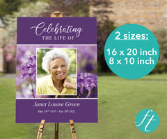 Purple Flowers Funeral Welcome Sign
