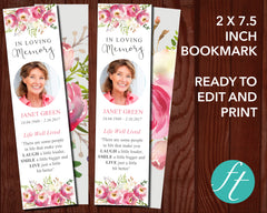 Floral Burst Funeral Bookmark
