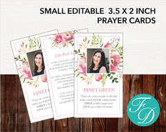 Floral Burst Funeral Prayer Card