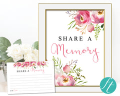 Floral Burst Share a Memory Sign and Cards