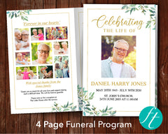 Green Leaf Funeral Program Template