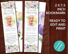 Lilac Bouquet Funeral Bookmark