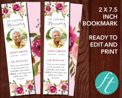 Pink Bloom Funeral Bookmark