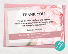 Pink Carnations Funeral Thank You Card