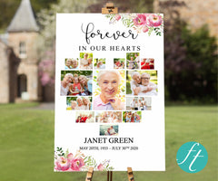 Pink Floral Heart Funeral Welcome Sign