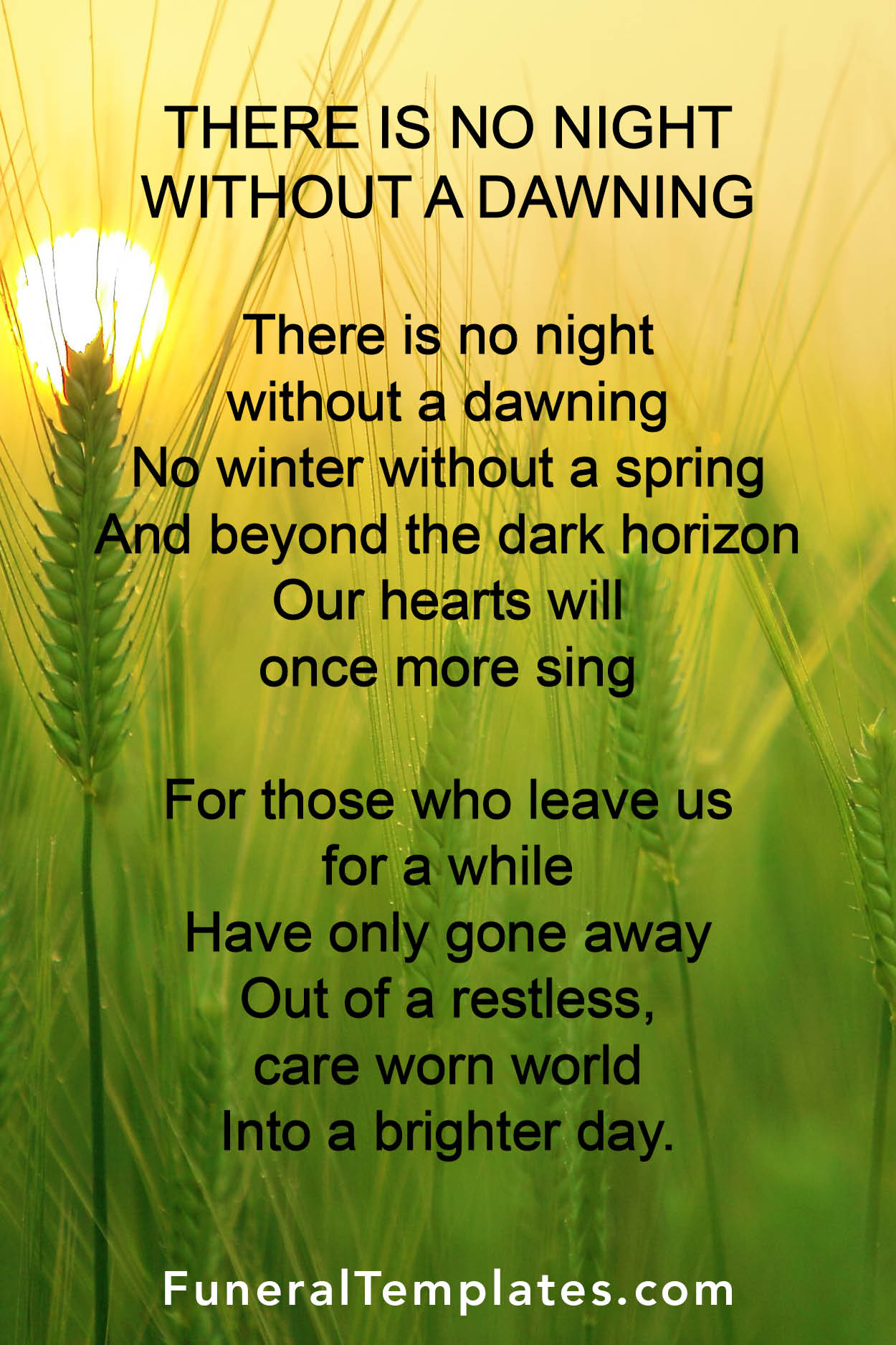 Funeral poem - There is no night without a dawning | funeraltemplates.com