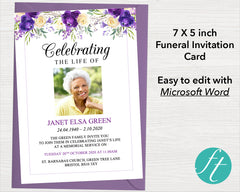 Purple Bloom Funeral Invitation Card