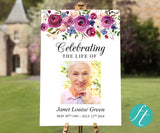 Purple Bloom Funeral Welcome Sign