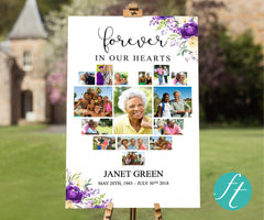 Purple Bloom Heart Funeral Welcome Sign