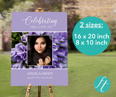 Purple Bouquet Funeral Welcome Sign