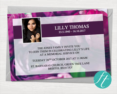 Purple Peonies Funeral Invitation Card