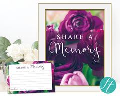 Purple Peonies Share a Memory Sign and Cards