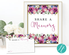 Purple Roses Share a Memory Sign and Cards