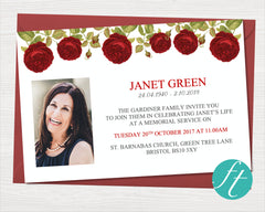 Red Rose Funeral Invitation Card