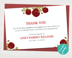 Red Rose Funeral Thank You Card