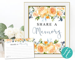 Yellow Rose Share a Memory Sign and Cards