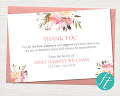 Spring Flowers Funeral Thank You Card