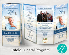 Trifold Beach Funeral Program Template