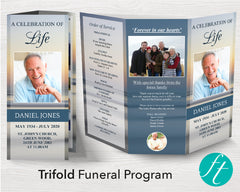 Trifold Beach Sunset Funeral Program Template