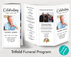 Trifold Classic Funeral Program Template