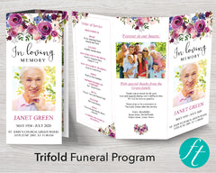 Trifold Floral Display Funeral Program Template