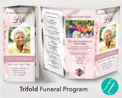 Trifold Pink Carnations Funeral Program Template