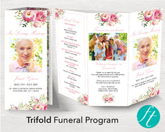 Trifold Pink Floral Funeral Program Template
