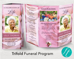 Trifold Pink Rose Funeral Program Template