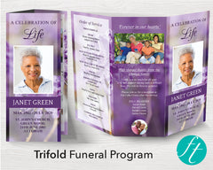 Trifold Purple Flowers Funeral Program Template
