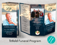 Trifold Sky Funeral Program Template