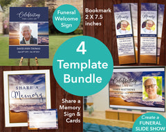 Waves Funeral Welcome Sign + Slide Show, Bookmark, Share a Memory Sign & Cards