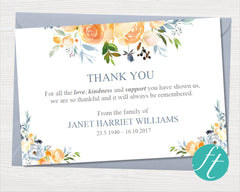 Yellow Rose Funeral Thank You Card