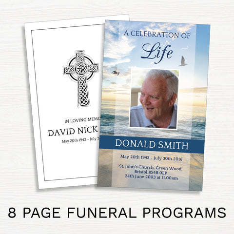 8 Page Funeral Programs