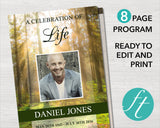 8 Page Forest Funeral Program Template