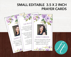 Lilac Bouquet Funeral Prayer Card