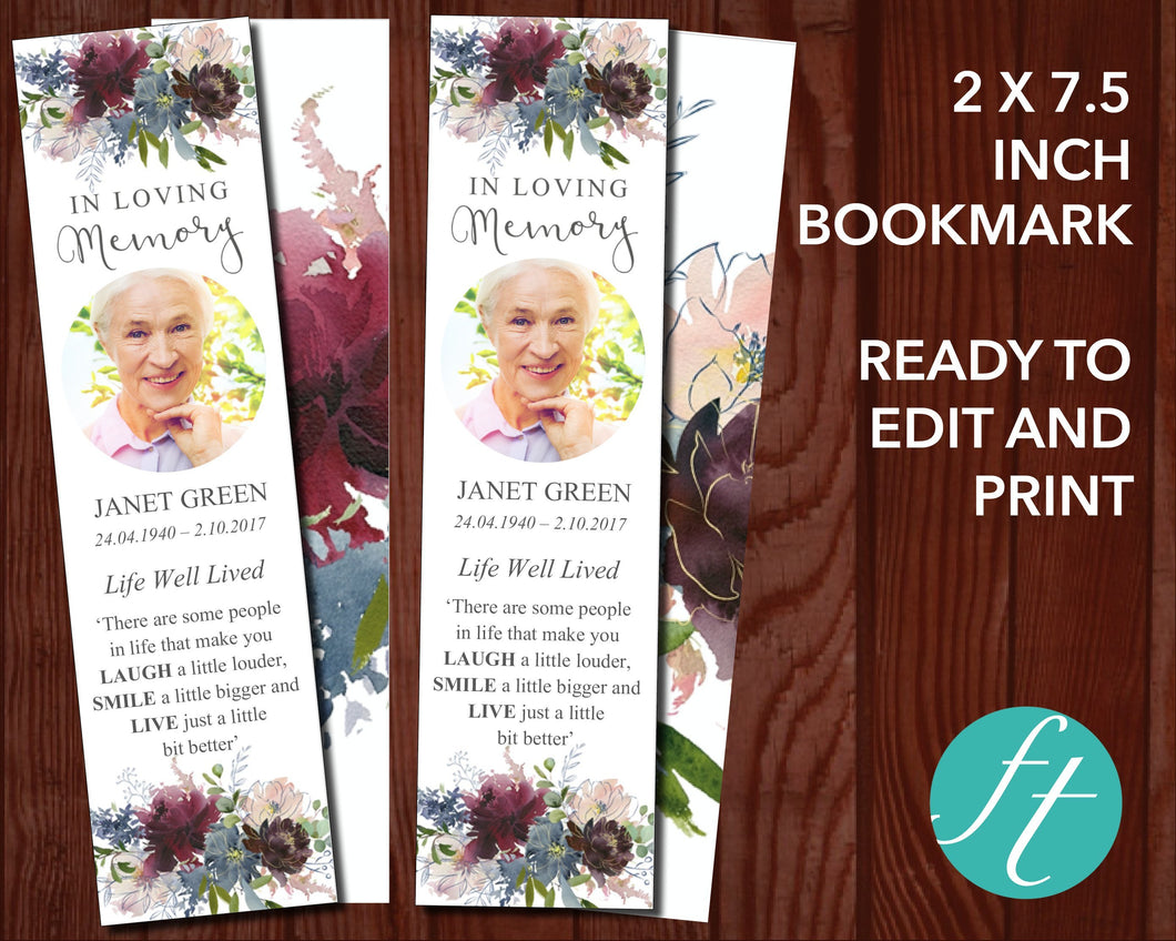Funeral Bookmark with Autumnal Flowers